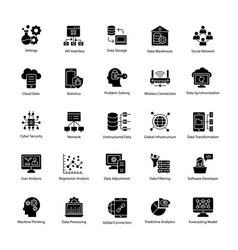 data science glyph icons vector image