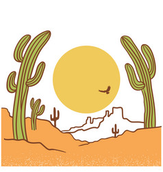 desert landscape with cactuses arizona desert vector image
