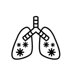 Diseased lungs with covid19 19 virus line style vector