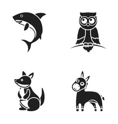 Donkey owl kangaroo sharkanimal set collection vector