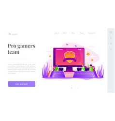 E-sport team landing page template vector