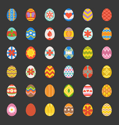 easter eggs 36 colorful flat design icons vector image
