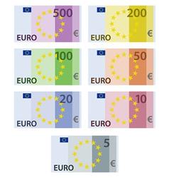 Euro paper bill banknotes vector