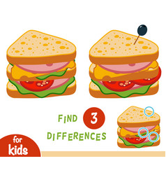 Find differences education game sandwich vector