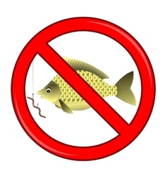 Fishing Prohibited Sign Isolated vector
