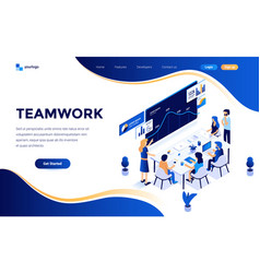 Flat color modern isometric concept - teamwork vector