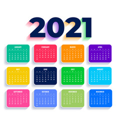 Flat colorful 2021 new year calendar template vector