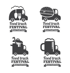 Food truck logos emblems and badges vector