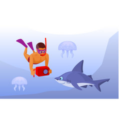 Free diver with waterproof camera cartoon vector