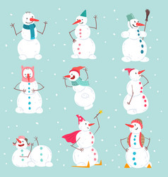 funny emotional snowmen characters set in vector image