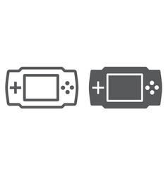 game console line and glyph icon electronic vector image