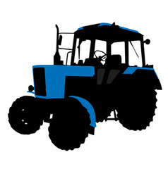 Generic wheeled tractor silhouette vector