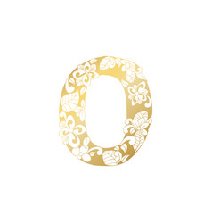 Golden ornamental alphabet letter o font vector