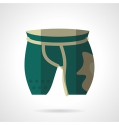 Green cycling shorts flat color icon vector