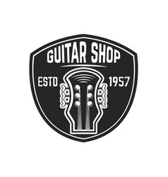 guitar shop emblem template design element vector image