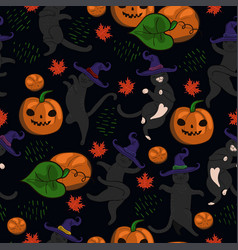 halloween dancing cats in hats seamless pattern vector image