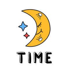 hand draw moon icon in doodle style for your vector image
