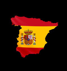 hanging spain flag in form map kingdom of vector image