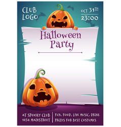 happy halloween editable poster with angry and vector image