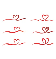 Heart set ribbons vector
