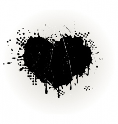 heart shaped grungy ink splat vector image