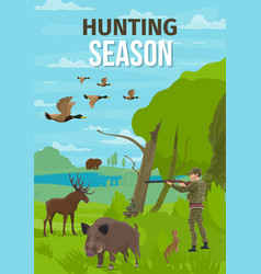 Hunt open season animals hunter in forest vector