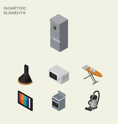 Isometric device set of air extractor stove vector