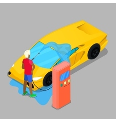 Isometric Hand Car Wash Driver Washing Car vector