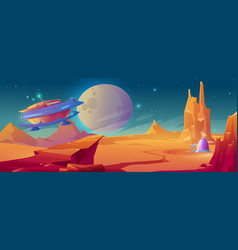 landscape planet mars with colony base vector image