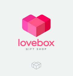 love box logo gift and presents shop pink-red he vector image