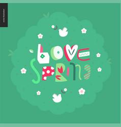love spring bench fun letetring vector image vector image