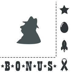 Man profile in hat icon vector