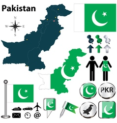 map pakistan vector image