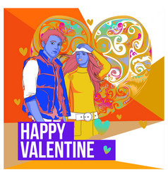 Men and women happy family couple in love poster vector