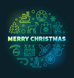 merry christmas round colorful linear vector image
