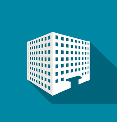 Multi-storey building with a long shadow flat vector