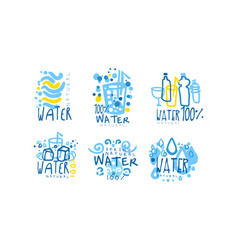 natural water label or badge design set vector image