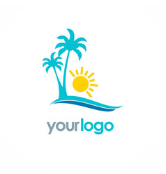 Palm tree beach sunny logo vector