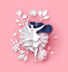 papercut spring flower and woman pink background vector image
