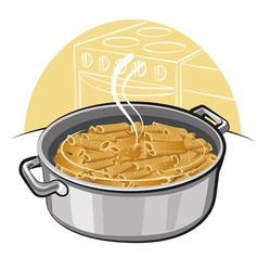 Pasta in the pot vector