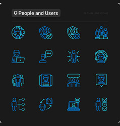 people and users thin line icons set vector image