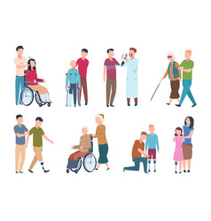 People with disabilities and friends disable vector