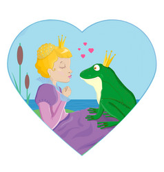 princess kissing a frog with crown vector image