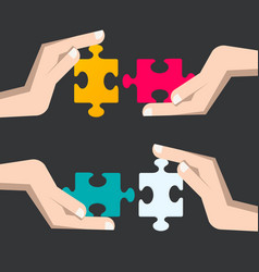 puzzle pieces in human hands business strategy vector image