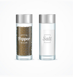 realistic detailed 3d salt and pepper shakers set vector image