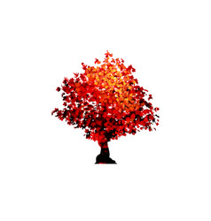 Red maple tree icon isolated on white vector