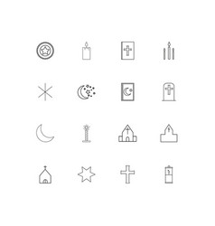 Religion simple linear icons set outlined icons vector