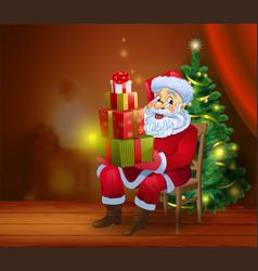 Santa claus reading the book vector