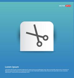 scissors icon - blue sticker button vector image