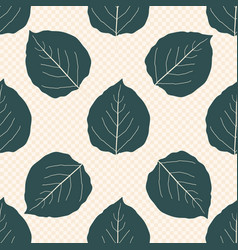 Sea green color aspen leaf seamless pattern vector